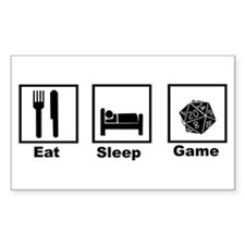 Eat, Sleep, Game Role Playing Sticker (Rectangular