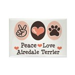 Peace Love Airdale Terrier Rectangle Magnet (10 pa