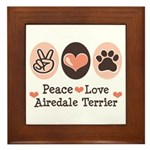 Peace Love Airdale Terrier Framed Tile