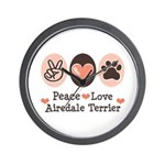 Peace Love Airdale Terrier Wall Clock