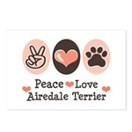 Peace Love Airdale Terrier Postcards (Package of 8