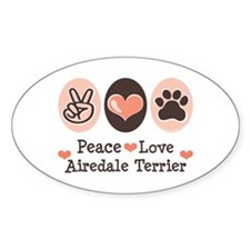 Peace Love Airdale Terrier Oval Decal