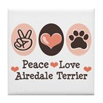 Peace Love Airdale Terrier Tile Coaster