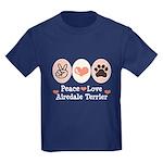 Peace Love Airdale Terrier Kids Dark T-Shirt