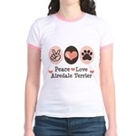 Peace Love Airdale Terrier Jr. Ringer T-Shirt