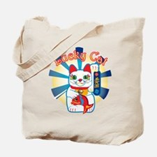 Lucky Cat White Tote Bag