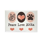 Peace Love Akita Rectangle Magnet (10 pack)