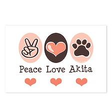 Peace Love Akita Postcards (Package of 8)