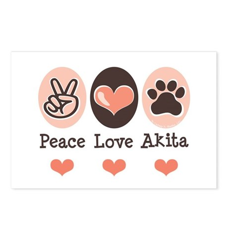 Peace Love Akita Postcards (Package of 8)