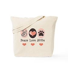 Peace Love Akita Tote Bag