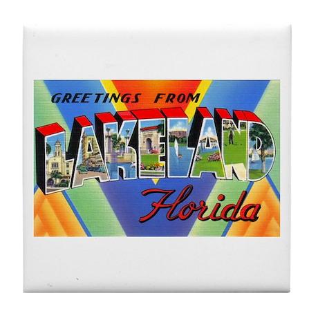 Lakeland Florida Greetings Tile Coaster