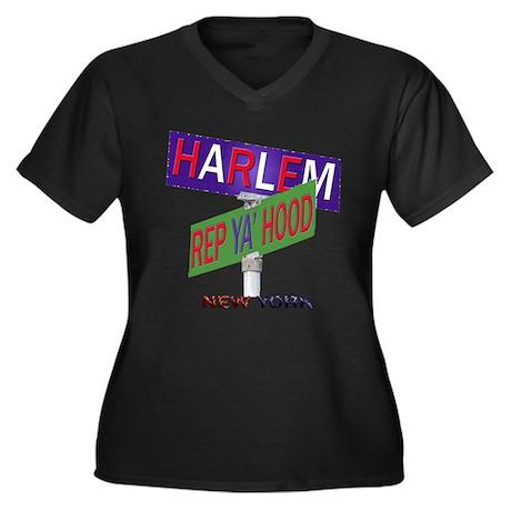 REP HARLEM Women's Plus Size V-Neck Dark T-Shirt