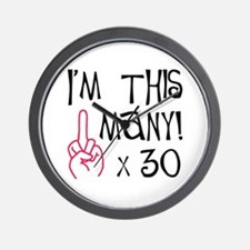 30th Birthday Middle Finger Salute! Wall Clock
