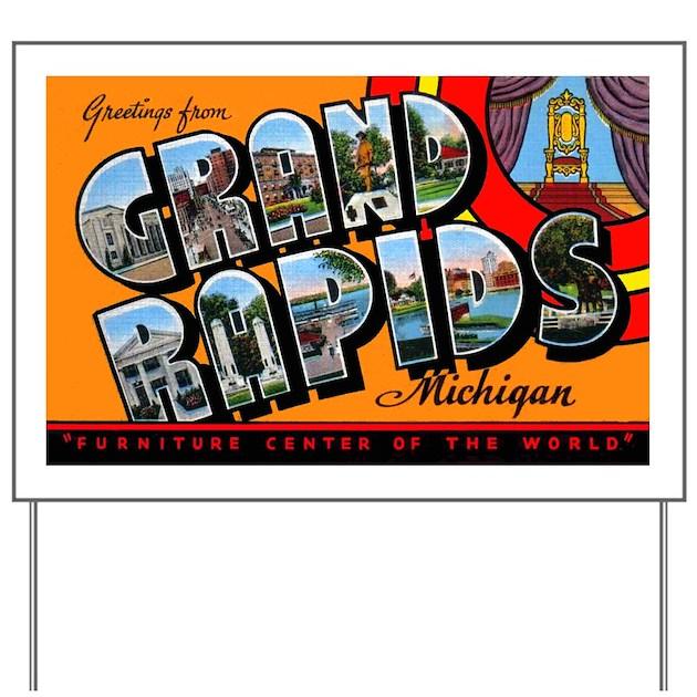 Grand Rapids Michigan Greetings Yard Sign By W2arts