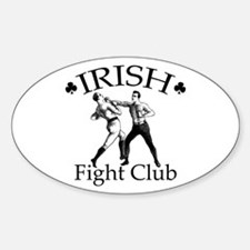 Irish Fight Club BW Oval Decal