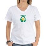 I Recycle Beer Women's V-Neck T-Shirt