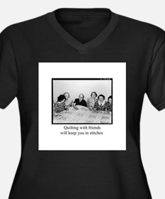 Quilting With Friends Women's Plus Size V-Neck Dar