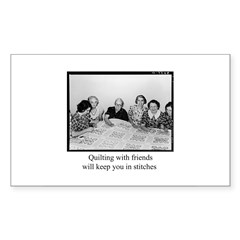 Quilting With Friends Rectangle Decal