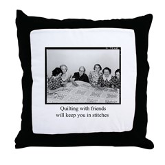 Quilting With Friends Throw Pillow