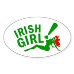 Redhead Irish Girl Oval Sticker
