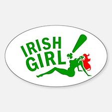 Redhead Irish Girl Oval Decal