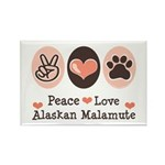 Peace Love Alaskan Malamute Rectangle Magnet (10 p