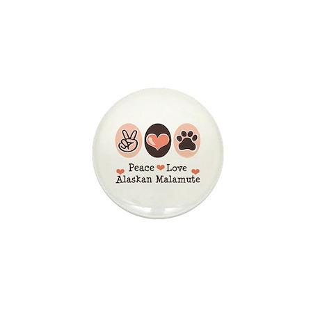 Peace Love Alaskan Malamute Mini Button (10 pack)