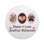 Peace Love Alaskan Malamute Ornament (Round)