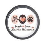 Peace Love Alaskan Malamute Wall Clock