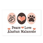 Peace Love Alaskan Malamute Postcards (Package of
