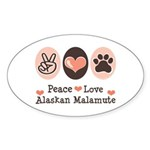 Peace Love Alaskan Malamute Oval Sticker