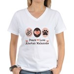 Peace Love Alaskan Malamute Women's V-Neck T-Shirt