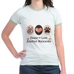 Peace Love Alaskan Malamute Jr. Ringer T-Shirt