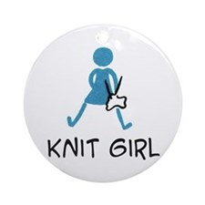 Retro Knit Girl Ornament (Round)