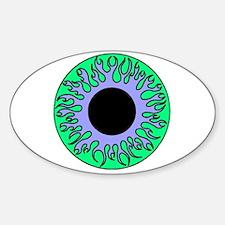 Blue & Green Flame Eyeball Oval Decal