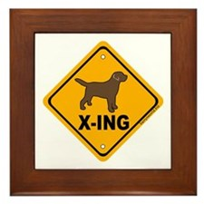 Chocolate Lab X-ing Framed Tile
