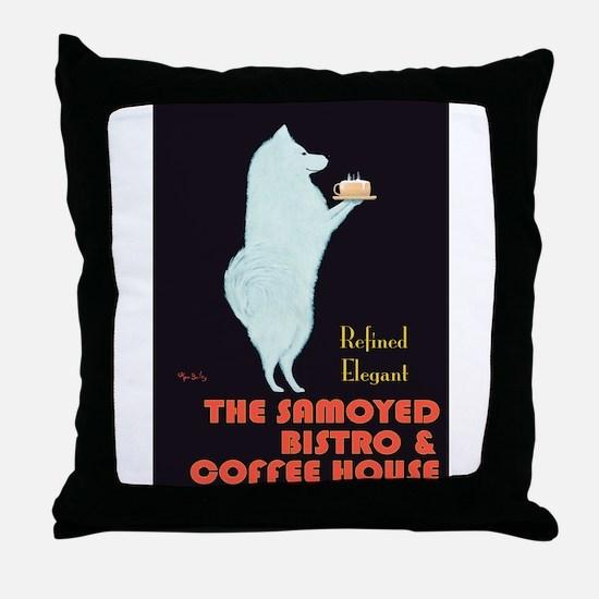 The Samoyed Bistro Throw Pillow