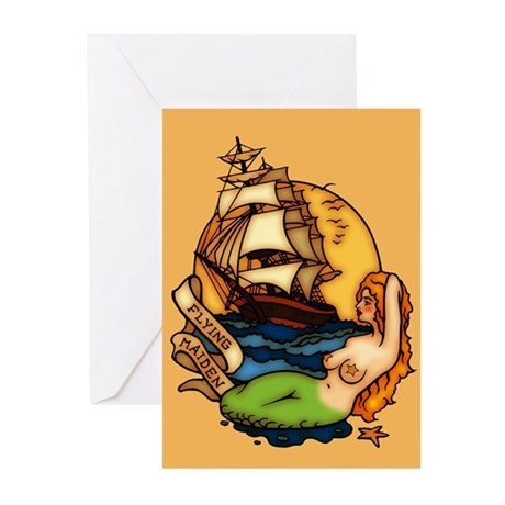 Mermaid Pirate Tattoo Greeting Cards (Pk of 20)