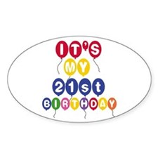 Balloons 21st Birthday Oval Decal