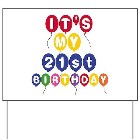 Balloons 21st Birthday Yard Sign