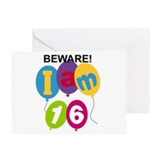 Beware 16th Birthday Greeting Card