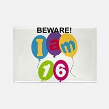 Beware 16th Birthday Rectangle Magnet