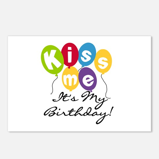 Kiss Me Birthday Postcards (Package of 8)