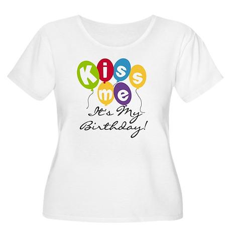 Kiss Me Birthday Women's Plus Size Scoop Neck T-Sh