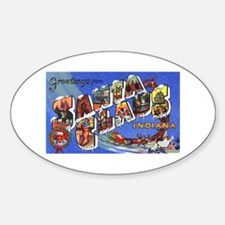 Santa Claus Indiana Greetings Oval Decal