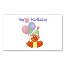 First Birthday Duck Rectangle Decal