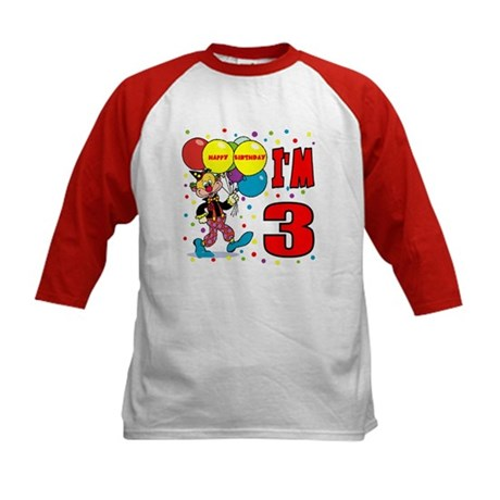 Clown 3rd Birthday Kids Baseball Jersey