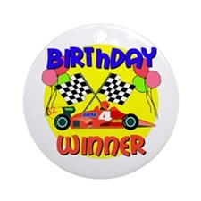 Racecar 4th Birthday Ornament (Round)