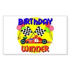 Racecar 6th Birthday Rectangle Decal