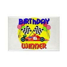 Racecar 6th Birthday Rectangle Magnet